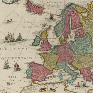 Classic early Dutch trading map showing Scotland and nearest linen nations