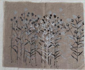 Flax Fields, Hand screen printed, dye onto linen