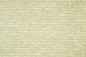 Futures Text, Text in linen sample, industrial weave by Fergusons, Banbridge