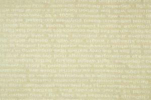 Futures Text, Text in linen sample, industrial weave by Fergusons, Banbridge