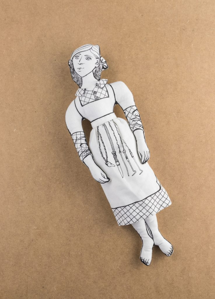 Linen Millie Doll, constructed from tea towel commemorating women of the linen industry