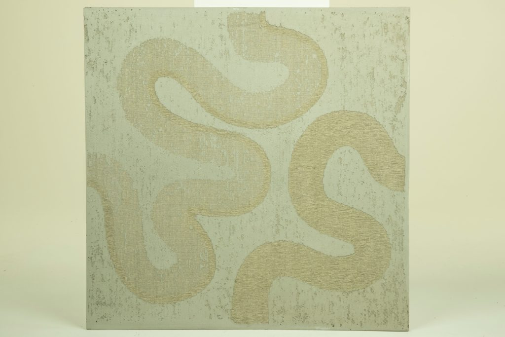 Linen lace textile in concrete panel